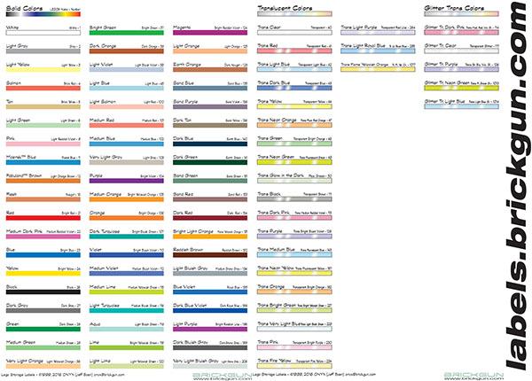 Brickgun storage labels color bars sample